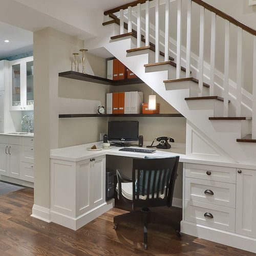 Home office under the stairs pinned from Design Evolution