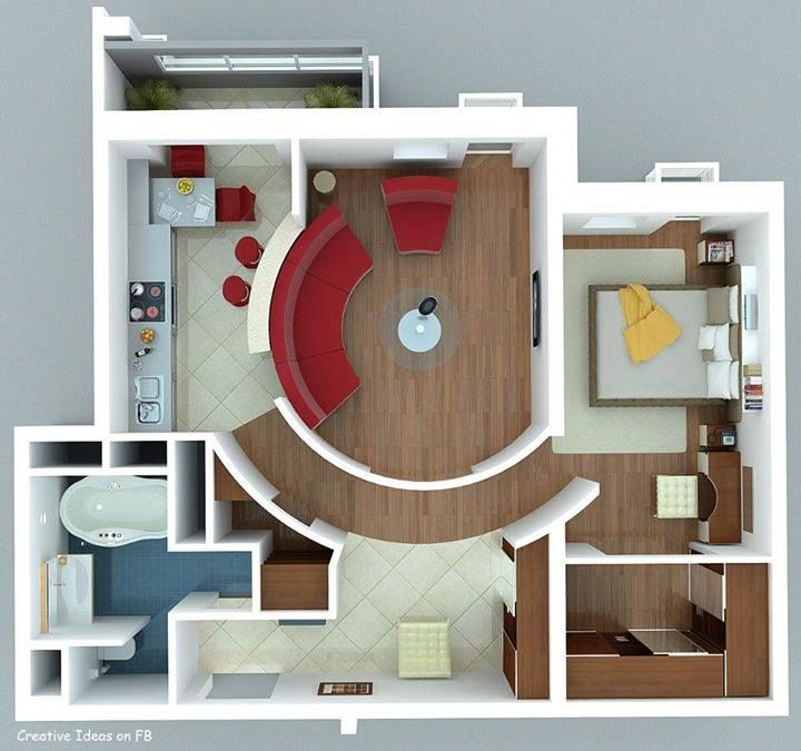 Ideas For Small Home Part - 19: Plan For Small Apartment [just A Neat Concept Design] | Architecture/ Floor  Plans | Pinterest | Small Apartments, Apartments And Tiny Houses