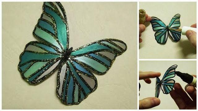 Hermosa Mariposa hecha con botella de Pet - Manualidades de Reciclaje ~ Un Mundo de Manualidades