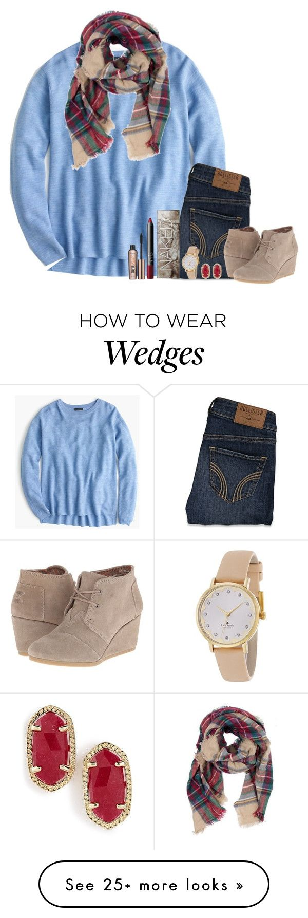 """I'd rather be somewhere with you."" by bloom17 on Polyvore featuring J.Crew, Hollister Co., TOMS, Urban Decay, NARS Cosmetics, Benefit, Kendra Scott and Kate Spade"
