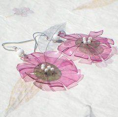 Náušnice fialové květiny z pet lahví