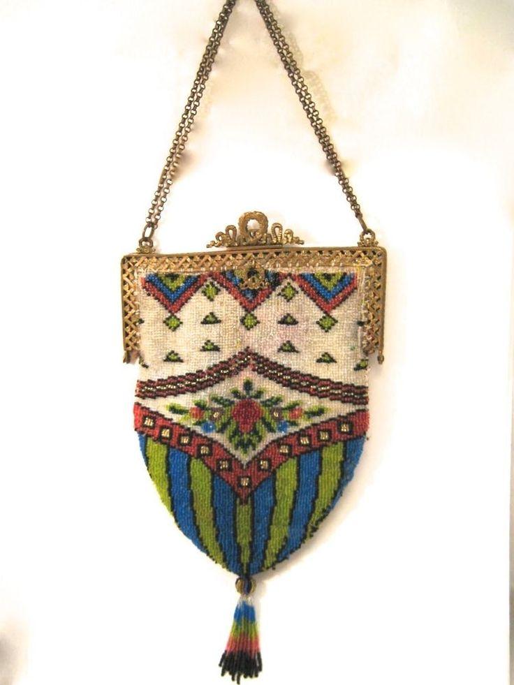 Beaded Purse Antique Bag Vintage Handbag Victorian ...