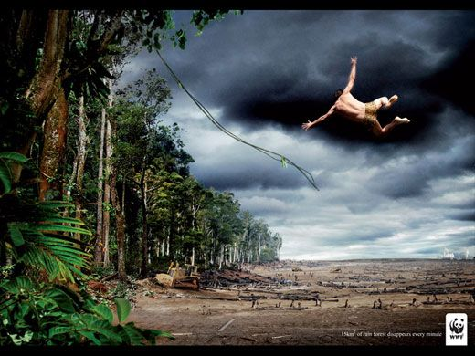 Credit: WWF/ACT Responsible Title: Tarzan<br>Agency: Uncle Grey<br> Made for: WWF (Denmark)<br>Tag line: 15m sq of rainforest disappears every minute