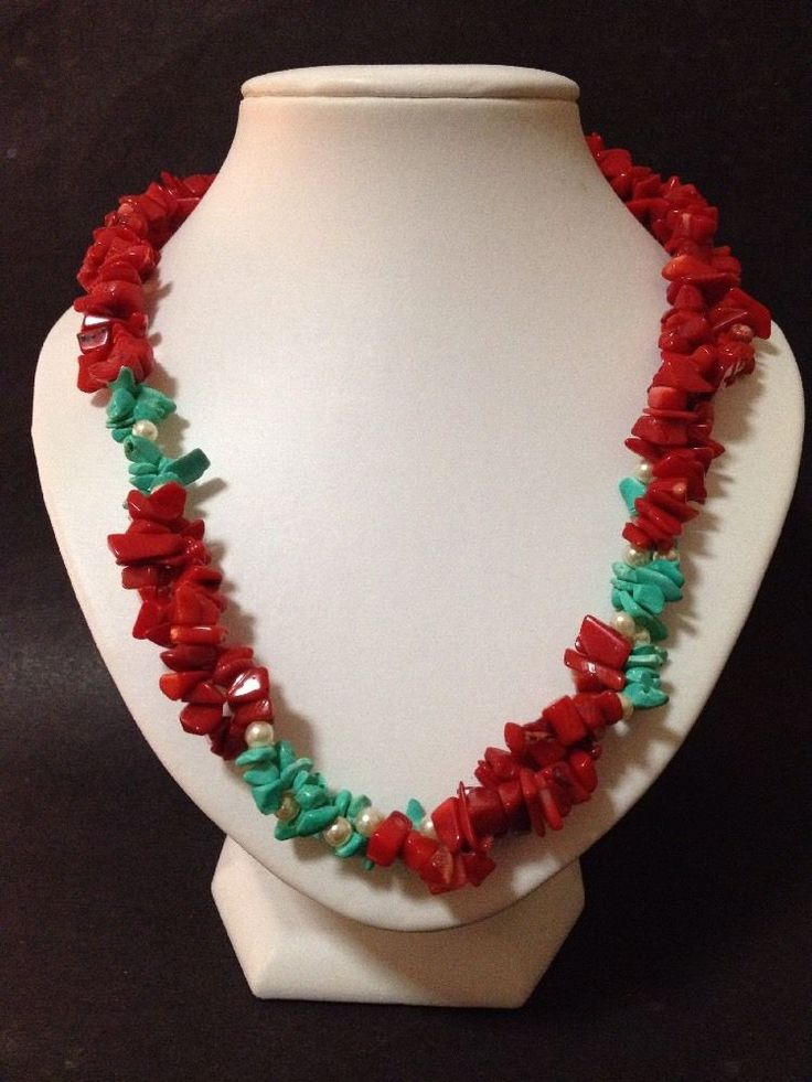 Pre Owned Red Coral?/Carnelian?, Turquoise & Pearls Beads Strand Necklace