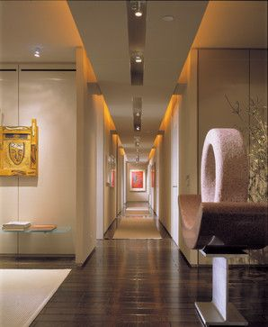 highland park contemporary hall - lighting along the hallway, pointing at art