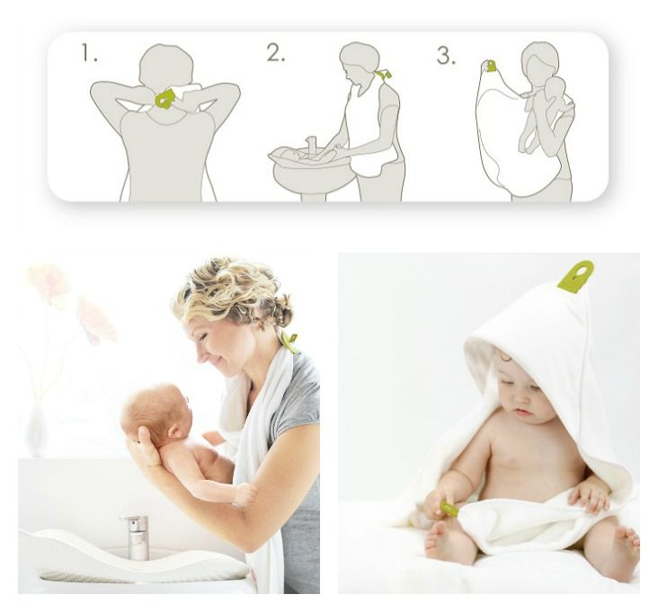 We love the Puj Hug which has two silicone tabs that interlock around the neck, allowing you to pick up your baby with two free hands- Simply unlatch the hooded side of the towel and gently wrap it around baby's head. Easy Peasy!