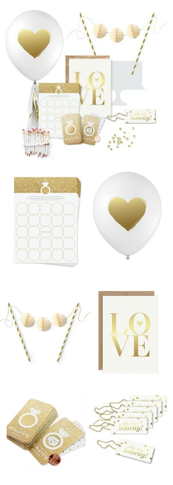 """Inklings Paperie®️ Gold Bridal Shower Collection No celebration is complete without balloons! This sweet set of 12 designer balloons by Inklings Paperie is printed in gold metallic ink on white biodegradable latex. Balloons are made in the USA with biodegradable latex, and measure 12"""" when inflated. #affiliate #target #bridalshower #partydecor #wedding #bride"""