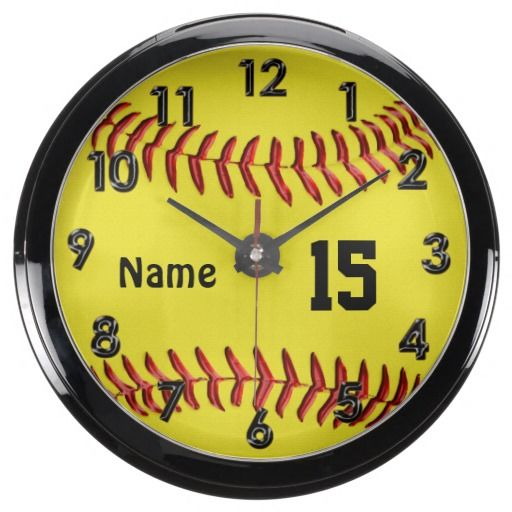 Personalized Softball Clocks Unique Softball Decor. Custom Aqua Clock will make nice custom softball gifts for girls and coaches. Unusual Softball Bedroom Decor for your wall or buy the stand to sit on your nightstand or dresser. ALL Softball Gifts CLICK LINK:   http://www.zazzle.com/littlelindapinda/gifts?cg=196194074123766050&rf=238147997806552929  ALL of Little Linda Pinda Designs CLICK HERE: http://www.Zazzle.com/LittleLindaPinda*/
