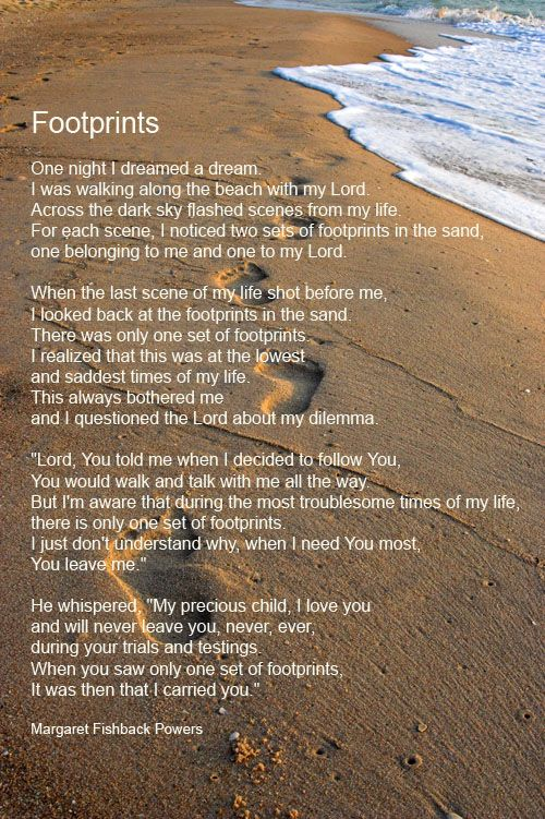 "Many of us are familiar with the poem, ""Footprints in the Sand,"" a beautiful poem, with an unknown author, but what does it mean to be carried by God? Description from pinterest.com. I searched for this on bing.com/images"