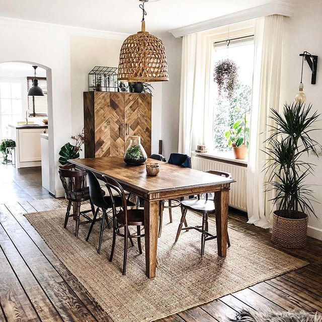 Wooden Table Jute Rug Wooden Floorboards Rattan Oversized Light