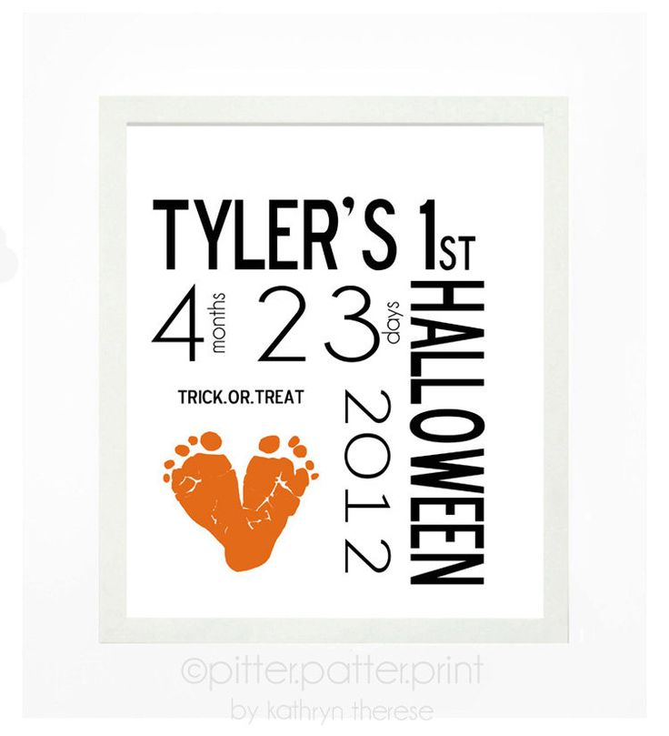 Baby's First Halloween Decor Baby Footprint by PitterPatterPrint