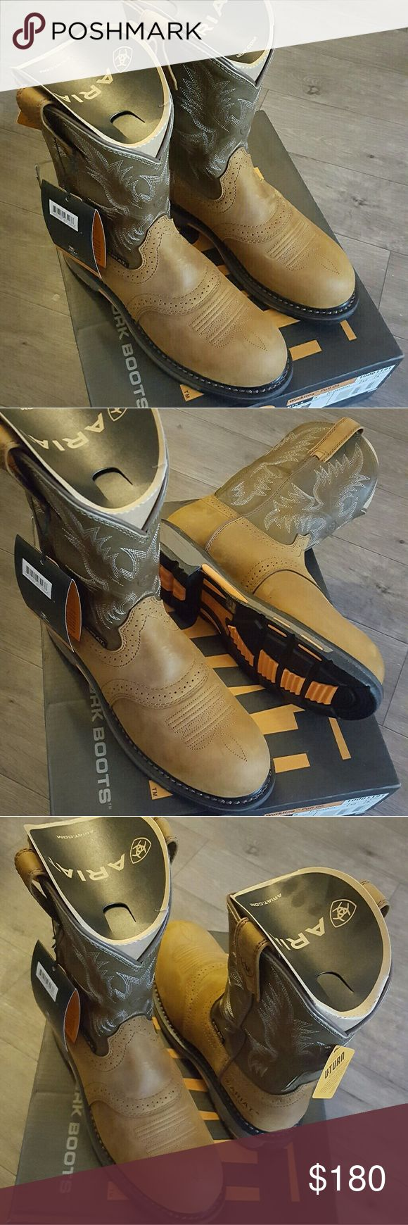 ARIAT work boots size 9 brand new.  received in mail today but didn't fit me so I'm trying to sell to get the correct size Ariat Shoes Combat & Moto Boots