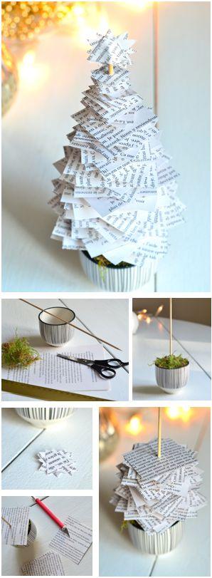 Réaliser un sapin en papier  Matériel : les pages d'un vieux livre, un petit pot, de la mousse végétale, un pic à brochette, des ciseaux, un cutter, une règle. Remplir le pot de mousse et planter le pic. Découper dans les pages des carrés de 2 à 8 cm. Tracer des diagonales pour trouver le centre de chaque carré. Percer le centre et planter les feuilles des plus grandes aux plus petites. Découper plusieurs triangles et les empiler en décalé pour créer une étoile. La fixer avec de la colle.