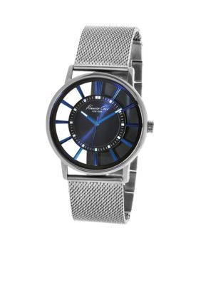 Kenneth Cole  Mens Blue Plated Transparent Dial with Blue Plated Mesh Bracelet Watch