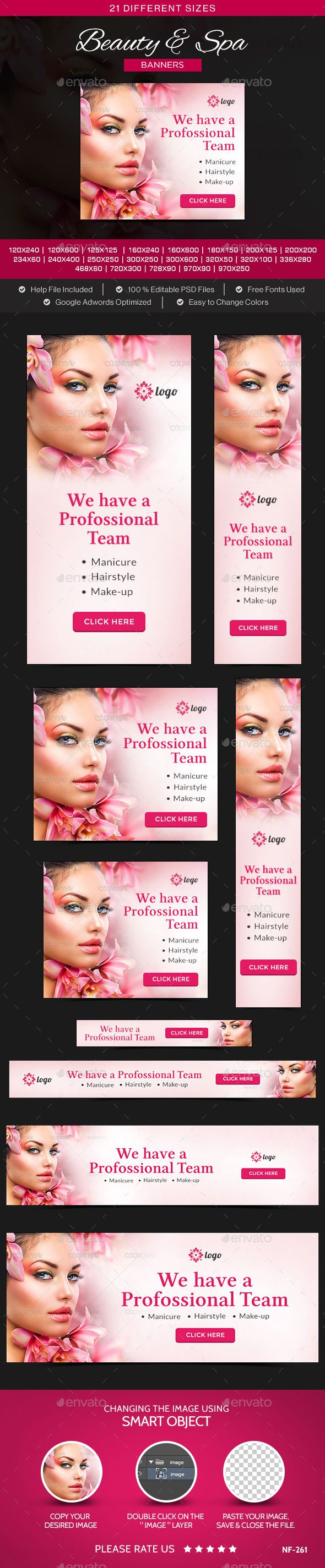 Beauty & Spa Banners - Banners & Ads Web Template PSD. Download here: http://graphicriver.net/item/beauty-spa-banners/10706555?s_rank=1775&ref=yinkira
