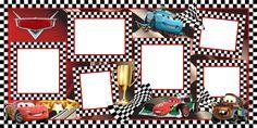 Plantilla Child 29x58 para la Creación de Foto Libros - Imagen Fondo Bandera a cuadros Cars, decorada con los personajes de la película (Rayo Mcqueen, Mate, Francesco Bernoulli y Rayo Mcqueen patrocinado por Dinoco y propulsado por cohetes) y banderas de cuadros blancos y negros. Dispone de 6 casillas para insertar fotografías con marco de cuadros y un logo para escribir mensajes o rótulos.