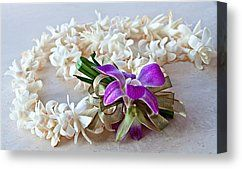 #Tuberose #flower #Lei with #Purple #Orchid and #Ribbon fine #art #prints