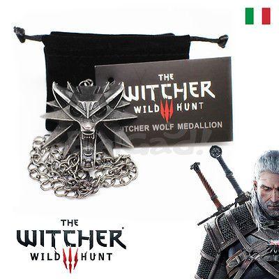 Collana Medaglione Ciondolo The Witcher 3 Wild Hunt Geralt di Rivia Lupo Bianco