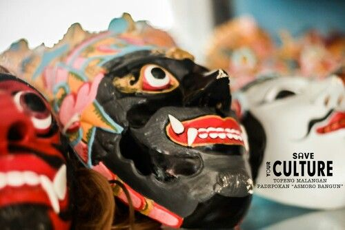 The mask of tari topeng malangan, tradional culture from malang, east java, indonesia