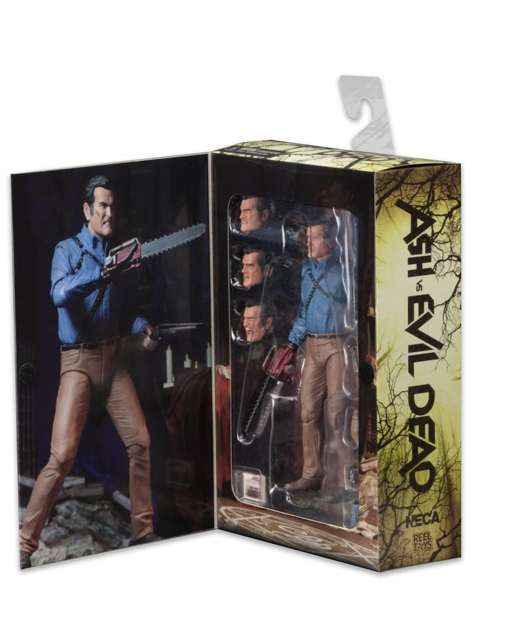 "NECA Ash Vs Evil Dead 7"" Action Figure. Based on the hit Starz TV series Ash vs evil Dead. Ultimate Ash measures about 7 inches tall and highly articulated. Accessories included: 4 interchangeable head sculpts, chainsaw, mechanical hand, wood hand, hand stump, photo of his car and shotgun that fits in back holster. Deluxe window box packaging with opening front flap."