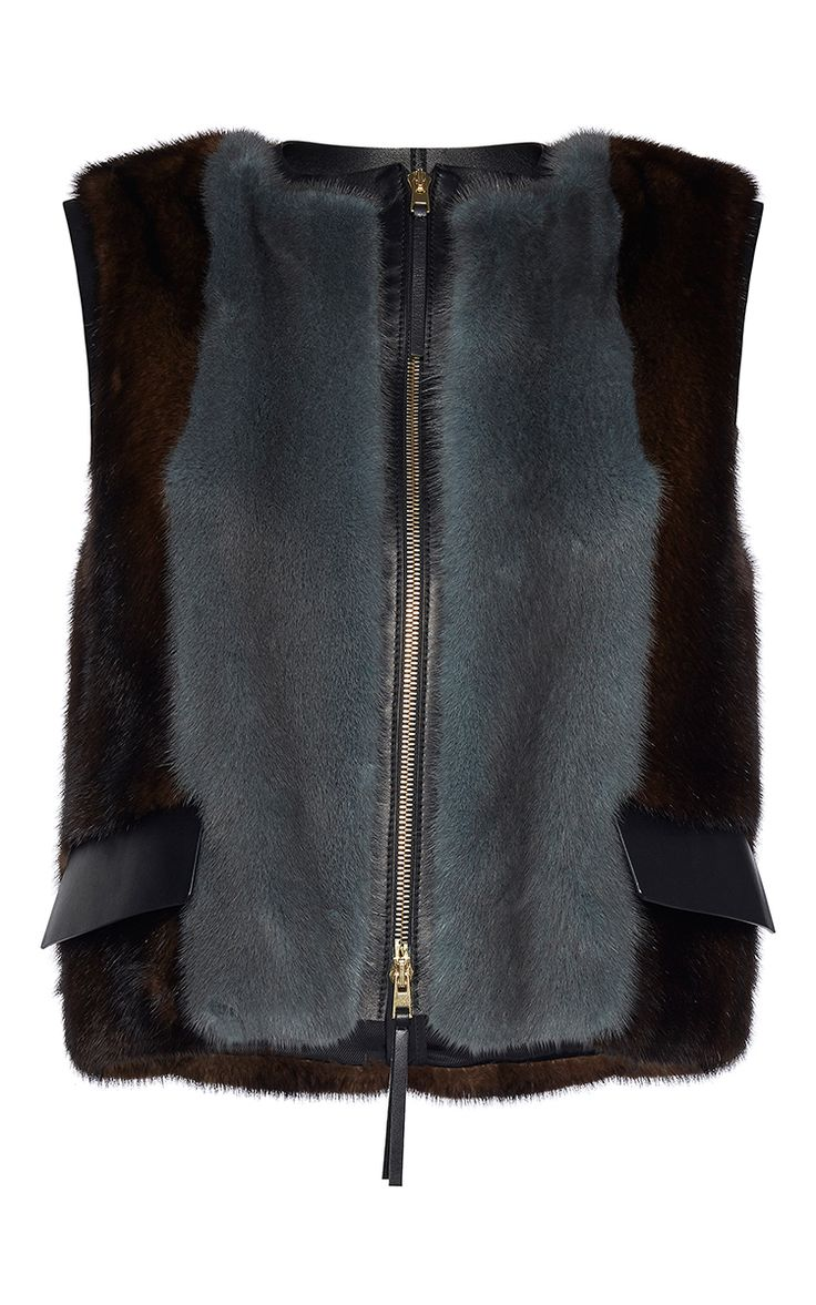 Bicolor Mink Fur Cropped Vest by MARNI for Preorder on Moda Operandi