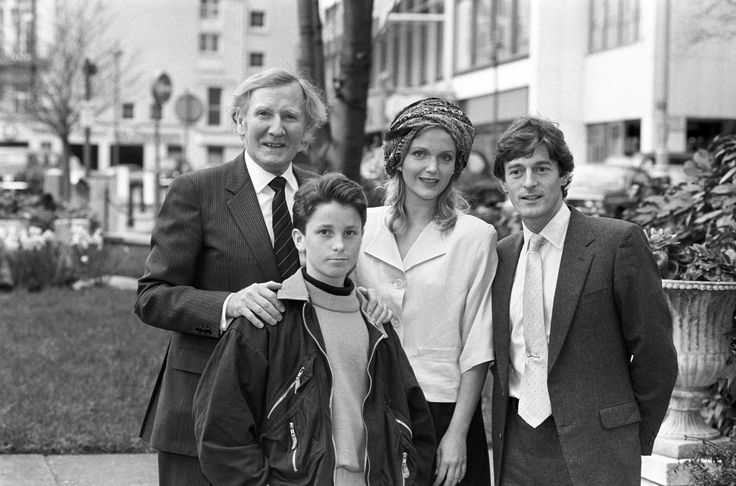 "The cast of ""Empire of the Sun"" at the London movie premiere, 1987.  L to R: Leslie Phillips, Christian Bale, Miranda Richardson, Nigel Havers."