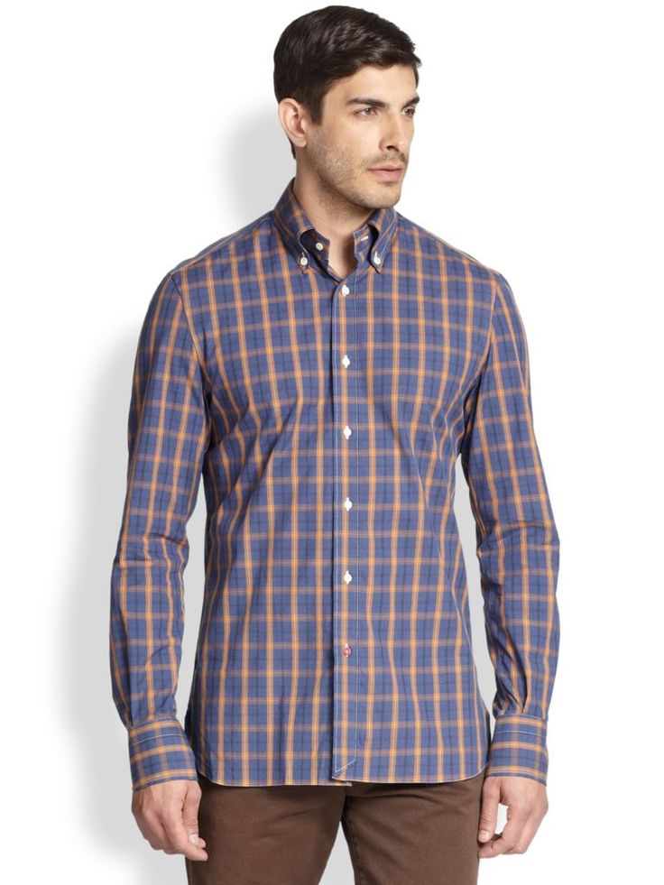 This crisp cotton sportshirt is defined by a tailored silhouette and smart plaid pattern.;Buttoned-down point collar;Button front;Long sleeves;Buttoned barrel cuffs;Cotton;Dry clean;Made in Italy;