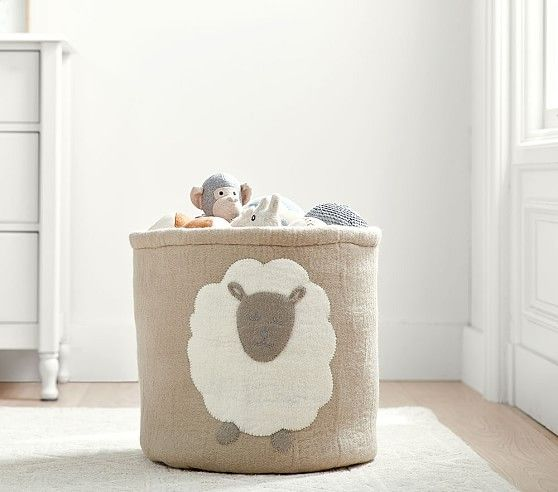 Felted Lamb Toy Dump Storage