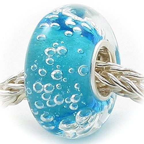 Beads Hunter Bubbles Murano Glass Beads with Solid Sterling Silver Single Core Stamped 925: