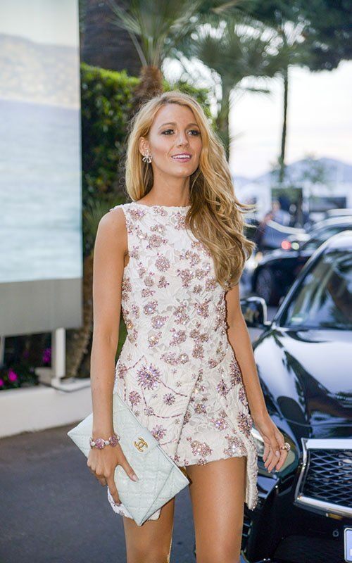 Hot! or Hmm… Blake Lively's Le Grand Journal Giambattista Valli Spring 2014 Couture White and Pink Crystal Embroidered Mini Dress