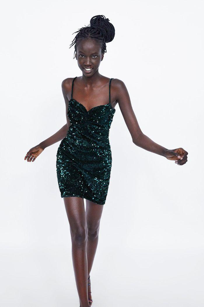 Zara Fitted Sequin Dress Green Sequin Dress Sequin Dress Green Party Dress