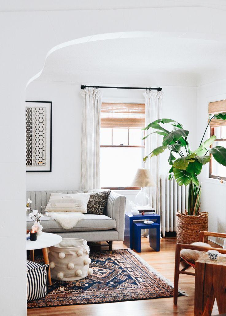 2020 Color Watch An Ode To Blue Francois Et Moi In 2020 White Walls Living Room Oak Floor Living Room Living Room White