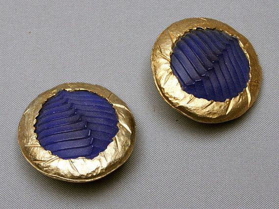 Vintage CLAUDE MONTANA French large clip earrings Round shape