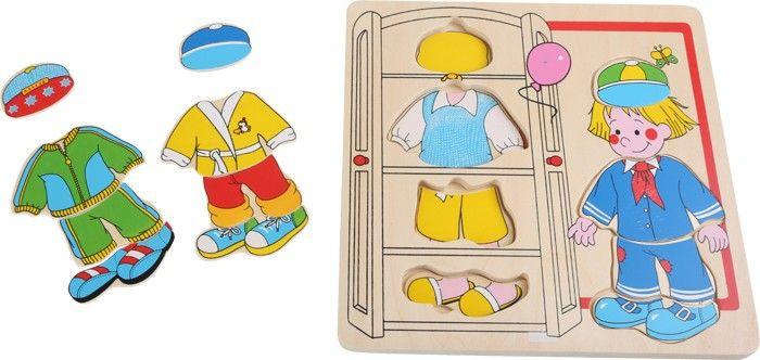www.malinowyslon.pl Ubranka dla chłopczyka Zmień ubranka! Cztery różne stroje można zmieniać w tych puzzlach. Na każdą okazję coś odpowiedniego! Elementy wykonane z mocnego prasowanego drewna, wygodne do chwytania i wkładania w przygotowane formy. Dzieci uczą się rozpoznawać kształty i układać je w odpowiednie miejsce!