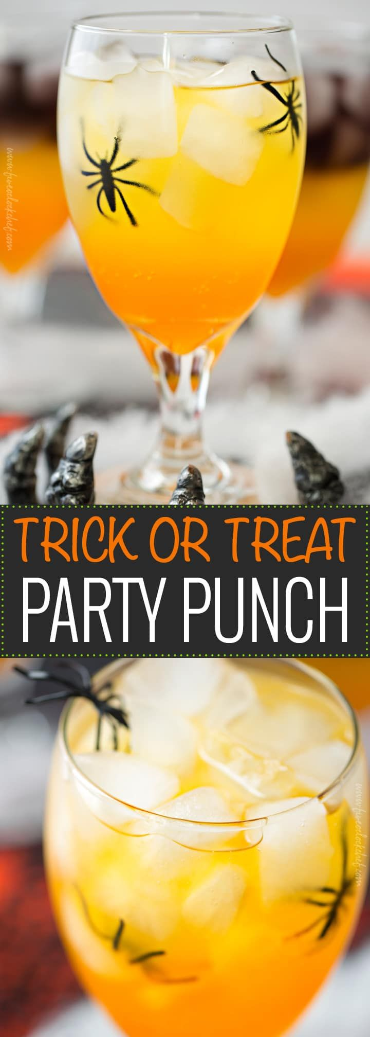 Trick or Treat Party Punch | This non-alcoholic party punch is layered to resemble a candy corn, with plastic spiders added for a fun spooky effect! | https://www.the5oclockchef.com | #punch #party #trickortreat #halloween #nonalcoholic #drinkrecipe