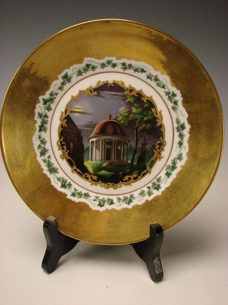 Antique KPM German Porcelain Hand Painted and Gilt Plate c1845