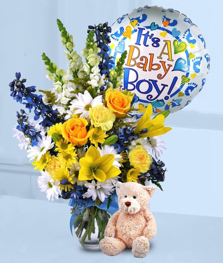 This beautiful vase of assorted fresh cut flowers is just right for the celebration of your new arrival. This item includes a plush keepsake teddy bear and mylar balloon!