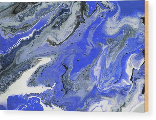 The Rivers Of Babylon Fragment. 2. Abstract Fluid Acrylic Painting Wood Print by Jenny Rainbow.  All wood prints are professionally printed, packaged, and shipped within 3 - 4 business days and delivered ready-to-hang on your wall. Choose from multiple sizes and mounting options.