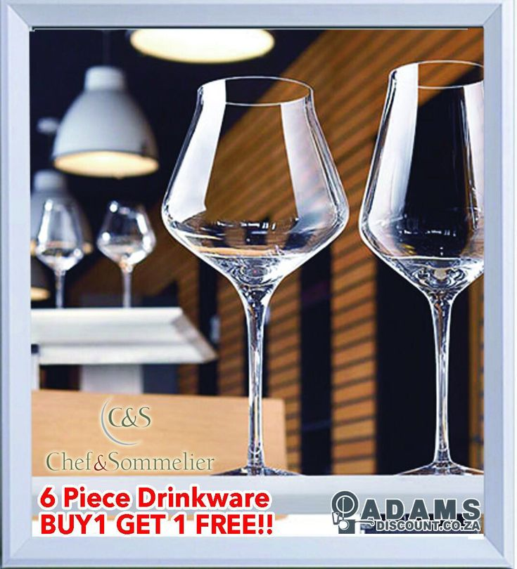 Adams presents to you the Chef & Sommelier Drinkware. With an Elegant & Timeless Design, the universal Sublym collection brings classic sophistication with a high and narrow bowl design. Designed with no seam, an extra flat foot and a elegant stem. You can now afford to get a dozen of these with the special at Adams: Buy one set of 6 and get another one ABSOLUTELY FREE! #shoponline #adamsdisount www.adamsdiscount.co.za