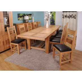 Grand Marseilles Large Oak Dining Table with 8 Warwick Oak Chairs - Set  www.easyfurn.co.uk
