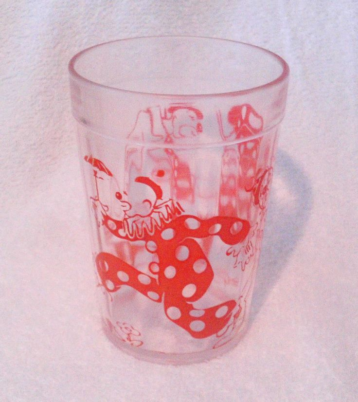 Vintage Hazel Atlas Red Clown Glass