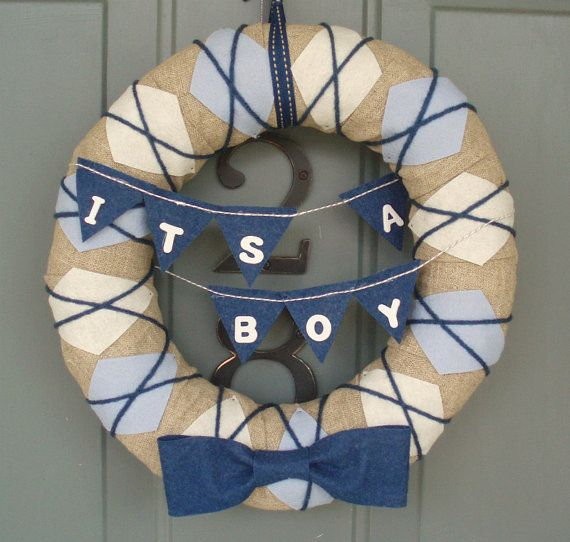 Yarn Wreath Handmade Front Door  Baby Boy