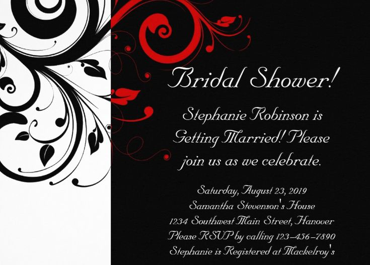 Black White Red Swirl Bridal Shower Invitation - Black and white with red accent reverse swirl invitation. Customize this invitation online! More at http://superdazzle.com