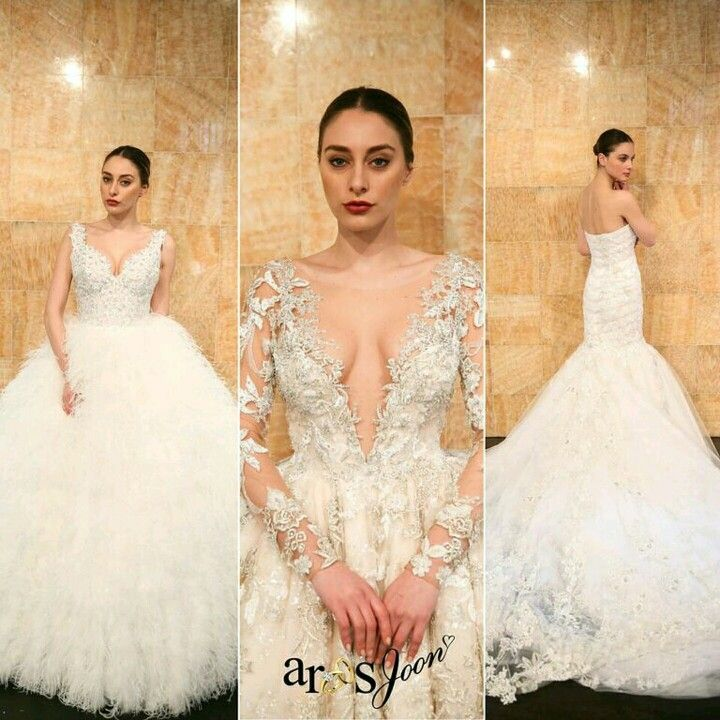 A #TBT from Aroos Joon's Site Director, @Roshsdisch. Here are her top 3 picks and sneak peek from the @stephenyearick & @ysamakino bridal collection showroom during #NYBFW!  Obsessing over the most #whimsical, show-stopping gowns from the collection. #Trend alert: feather, floral embroidery, and lace, these designs and silhouettes are awe-inspiring! From left, this plunging neckline bodice, embellished in crystals and textured embroidery is attached to the most airy and flowy feathered…