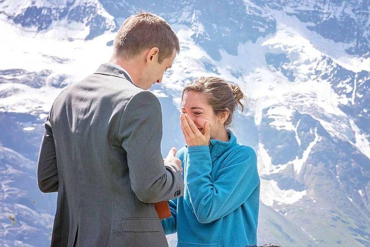 A surprise wedding proposal above Murren near the Allmendhubel restaurant.