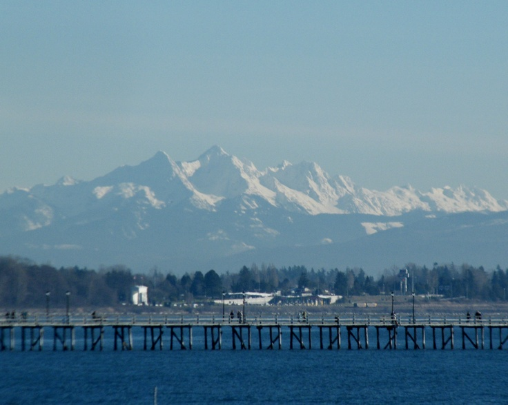 """""""Baker View"""" March 2012 Photography by Heather Lyn Sparrow. Mount Baker WA bathed in snow and sunshine; looking East from White Rock BC Canada."""