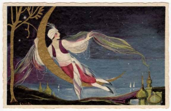 Chiostri Artwork Postcard Egyptian Woman or Man on Crescent Moon | eBay