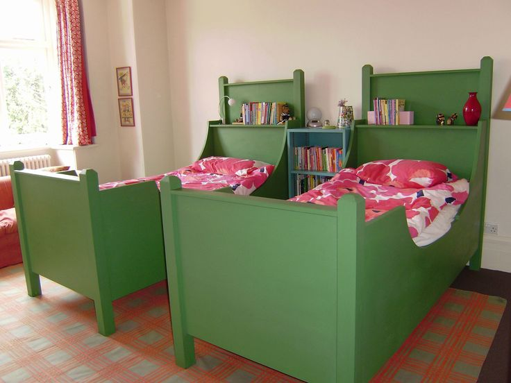 Beds 1. Karl Laarsen inspired sleigh bed. Our version of the classic Scandinavian sleigh bed. It is just gorgeous. The green beds were made for one of our deco