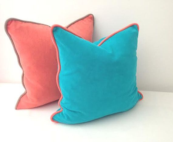 """Aqua Terry Throw #Pillow with Orange Piping 20"""" by 20"""", Turquoise Cushion, Modern Home Decor"""