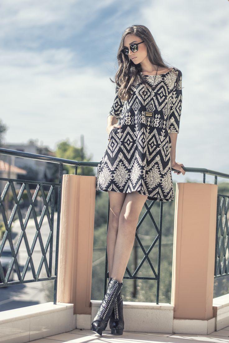 Mini printed dress//chic//classy//A-line//girly//fashion